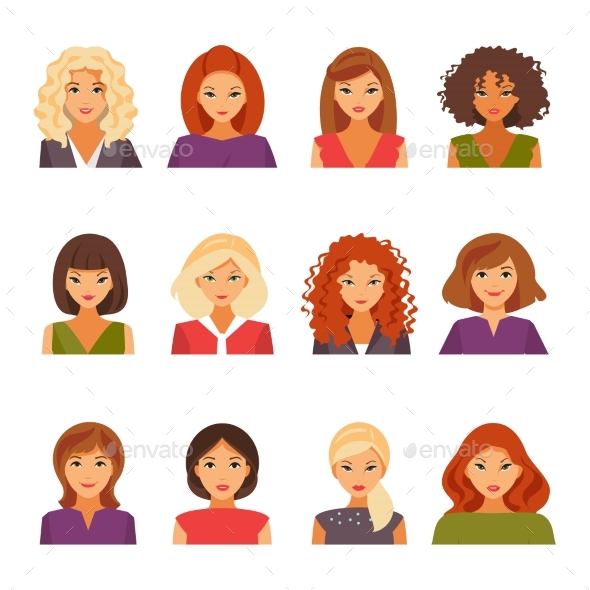 Set of Female Avatars - Miscellaneous Vectors