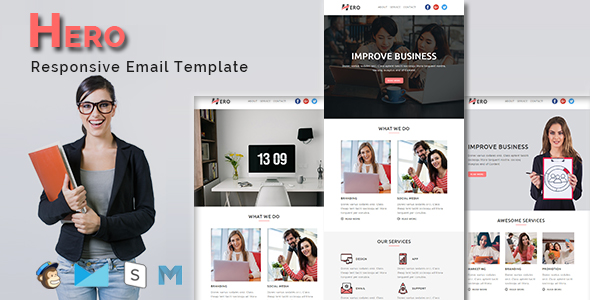 HERO - Multipurpose Responsive Email Template With Stamp Ready Builder Access