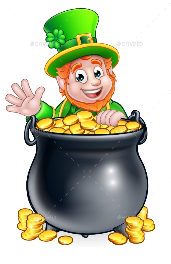 St Patricks Day Leprechaun and Pot of Gold - Objects Vectors
