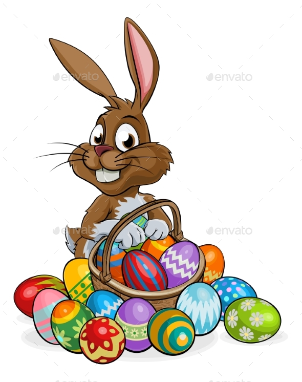 Cartoon Easter Bunny with Eggs Basket - Animals Characters