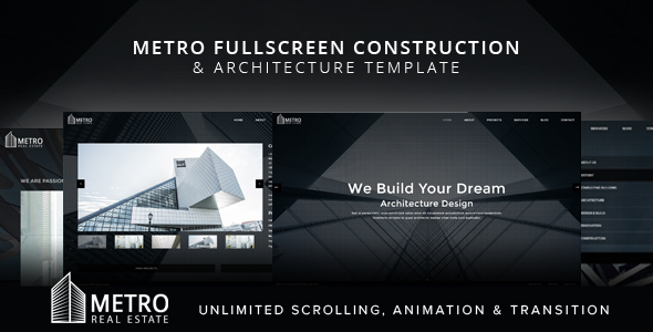 Metro Fullscreen Construction and Architecture Template - Business Corporate