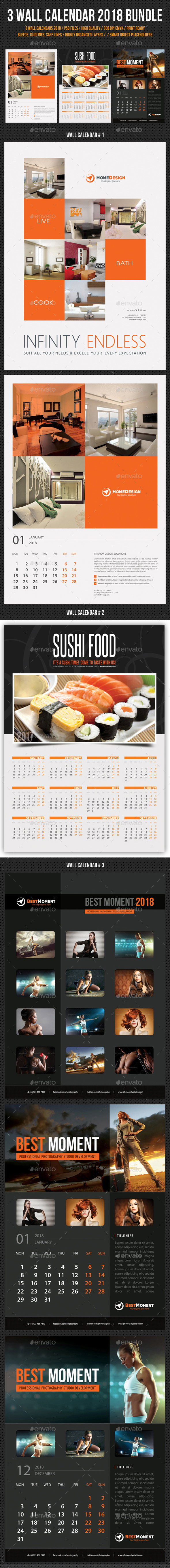 3 in 1 Wall Calendar 2018 Bundle V06