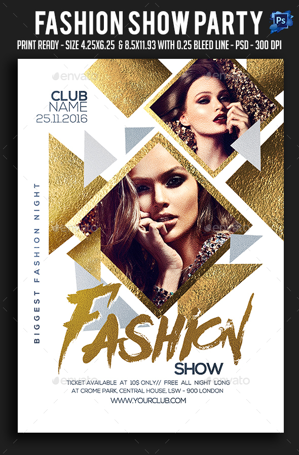 Fashion show party flyer by sparkg graphicriver for Fashion flyers templates for free