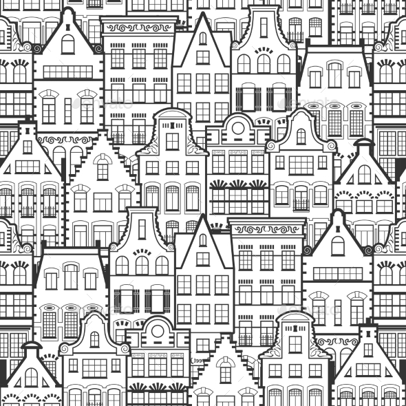 Seamless Pattern of Line Style Holland Old Houses - Buildings Objects