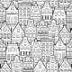 Seamless Pattern of Line Style Holland Old Houses - GraphicRiver Item for Sale