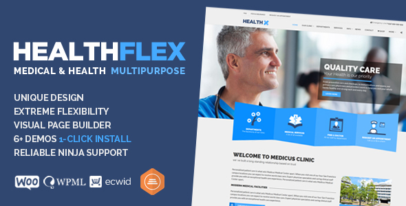 HEALTHFLEX Medical Health WordPress Theme - Health & Beauty Retail