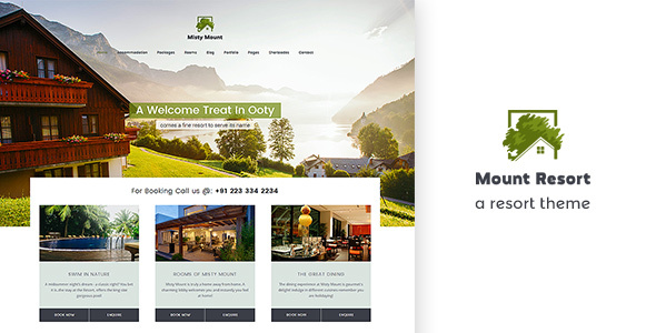 Misty Mount | A multi purpose resort, hotel WordPress theme