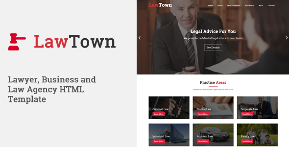 LawTown – Lawyer, Business and Law Agency HTML Template