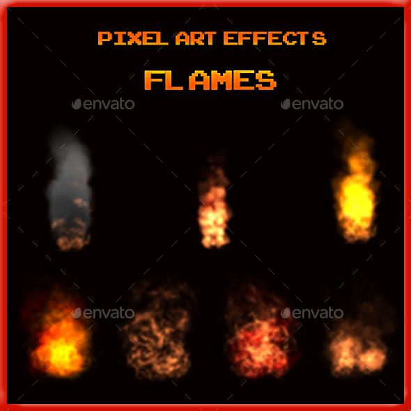 Pixel Art Effects-Flames - Sprites Game Assets