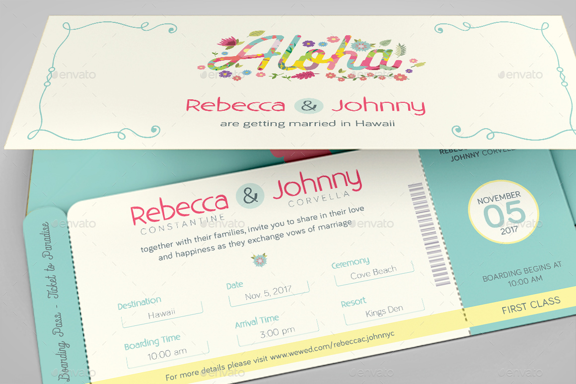 Hawaiian Wedding Boarding Pass Invitation Template By Godserv - Boarding pass wedding invitation template