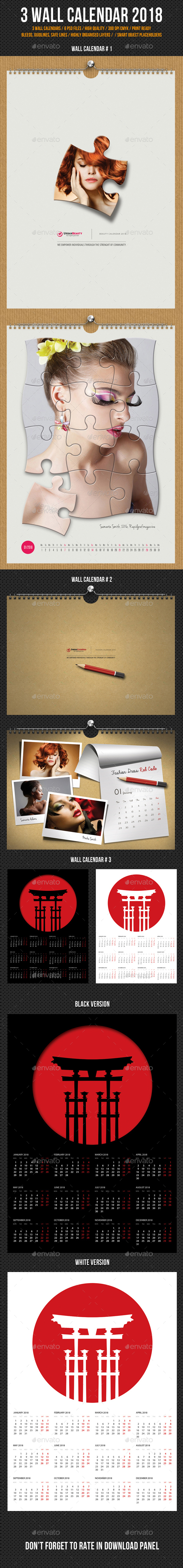 3 in 1 Wall Calendar 2018 Bundle V11 - Calendars Stationery