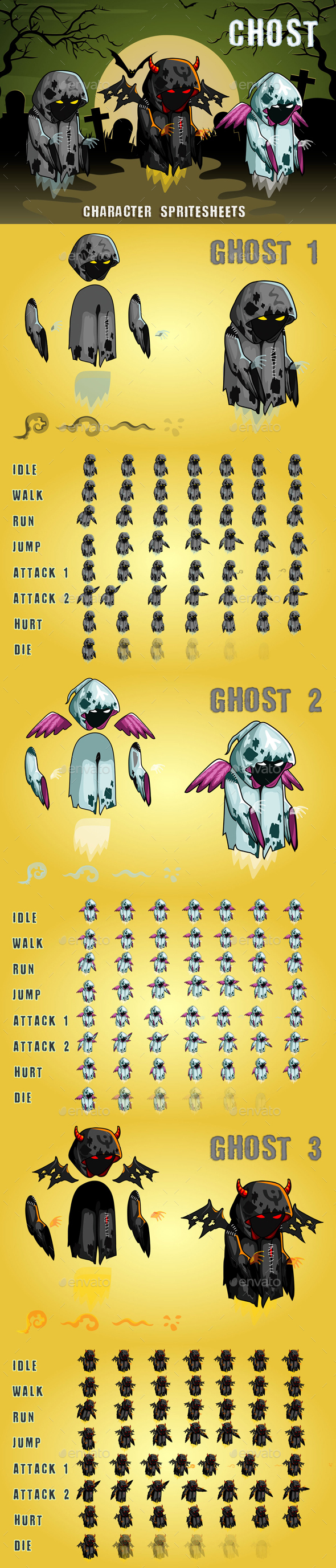 Ghosts 2D Game Character Sprite Sheet - Sprites Game Assets