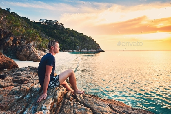 Alone on the beach - Stock Photo - Images