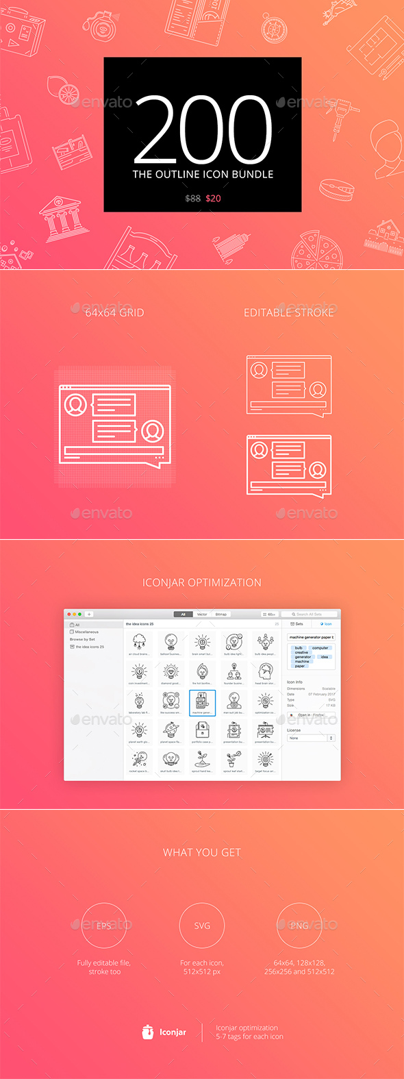 The Outline Icon Bundle 200 part 2 - Web Icons