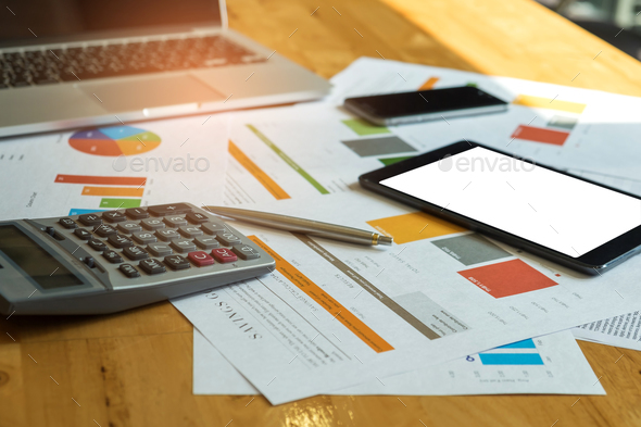 Business accessories,Laptop , calculator, tablet , smart phone , - Stock Photo - Images