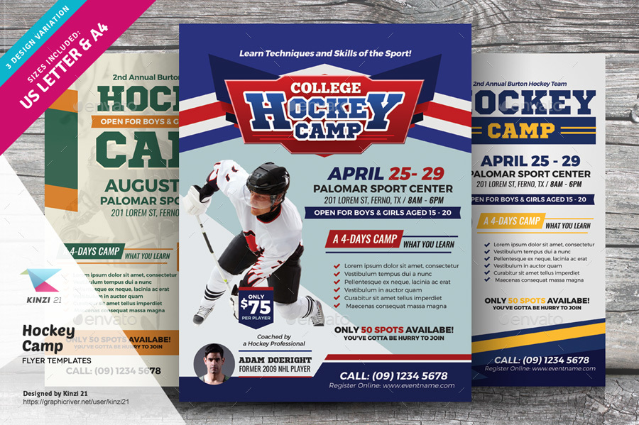 Hockey Camp Flyer Templates By Kinzi  Graphicriver