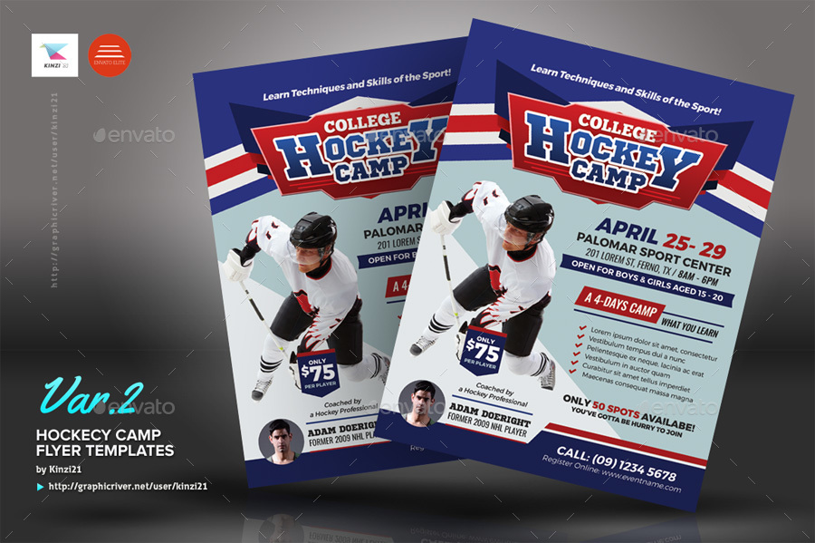 Hockey Camp Flyer Templates By Kinzi21 Graphicriver