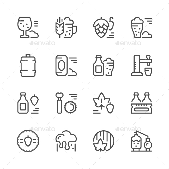 Set Line Icons of Beer - Man-made objects Objects