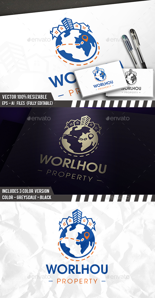 World Real Estate Logo - Buildings Logo Templates