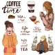 Set of Lettering and Girls with Tea or Coffee - GraphicRiver Item for Sale