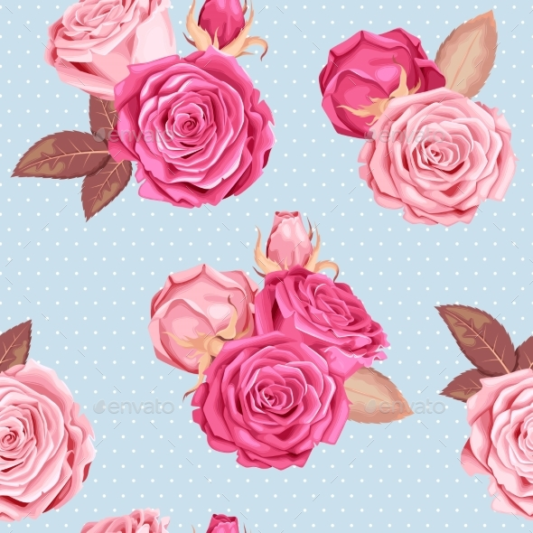 Roses Seamless Pattern - Flowers & Plants Nature