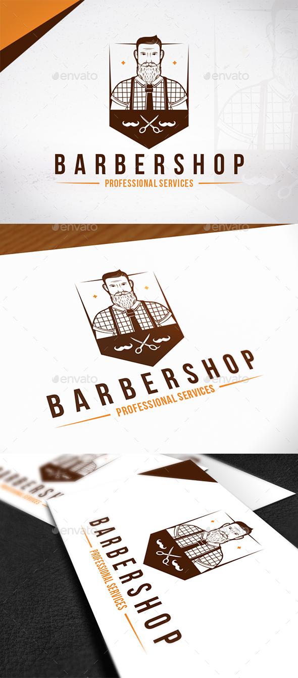 Hipster Barber Shop Emblem Logo - Humans Logo Templates
