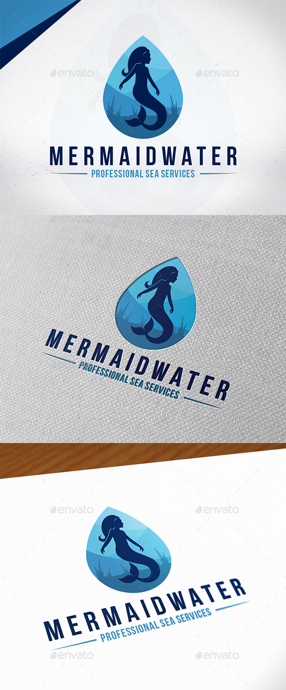 Mermaid Water Logo Template - Humans Logo Templates