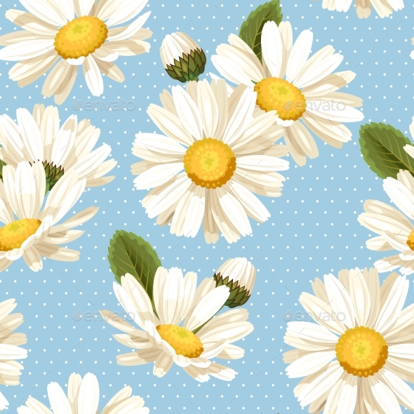 Camomile and Polka Dot Seamless Background - Flowers & Plants Nature