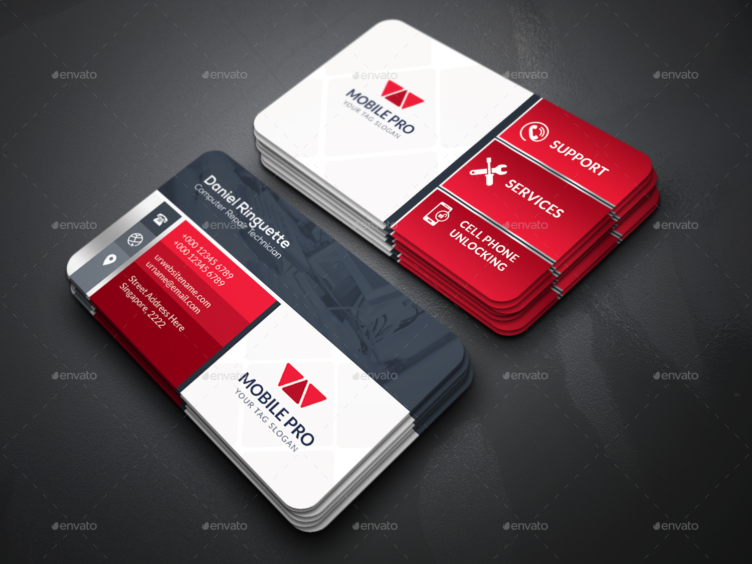 Mobile repair service business card by createart for Cell phone repair business cards