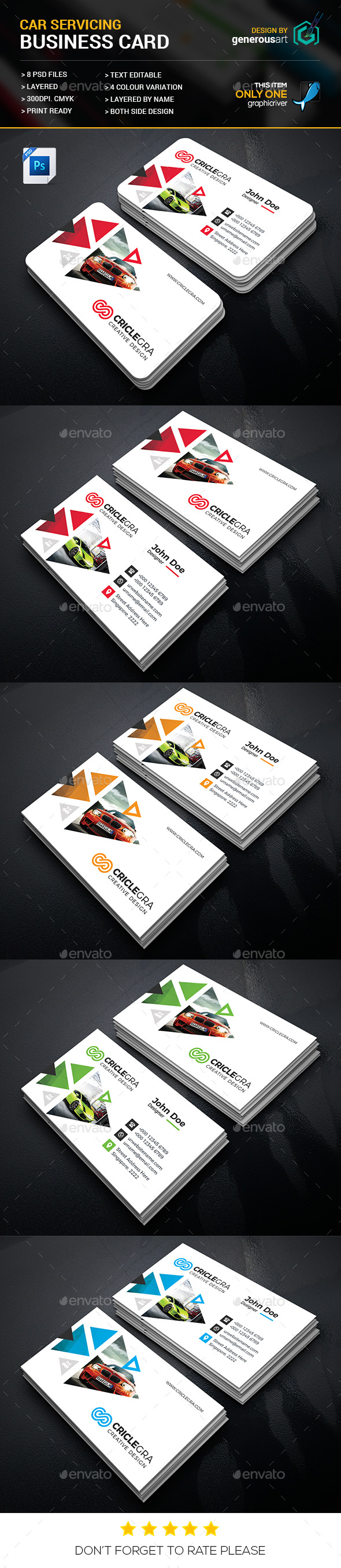 Car Servicing Business Card - Business Cards Print Templates