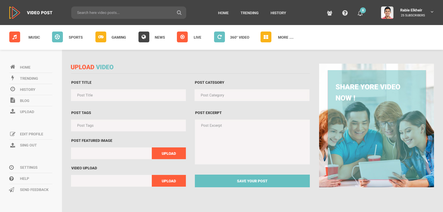 Video Post Video Sharing PSD Template By NileTheme ThemeForest - Photo sharing website template