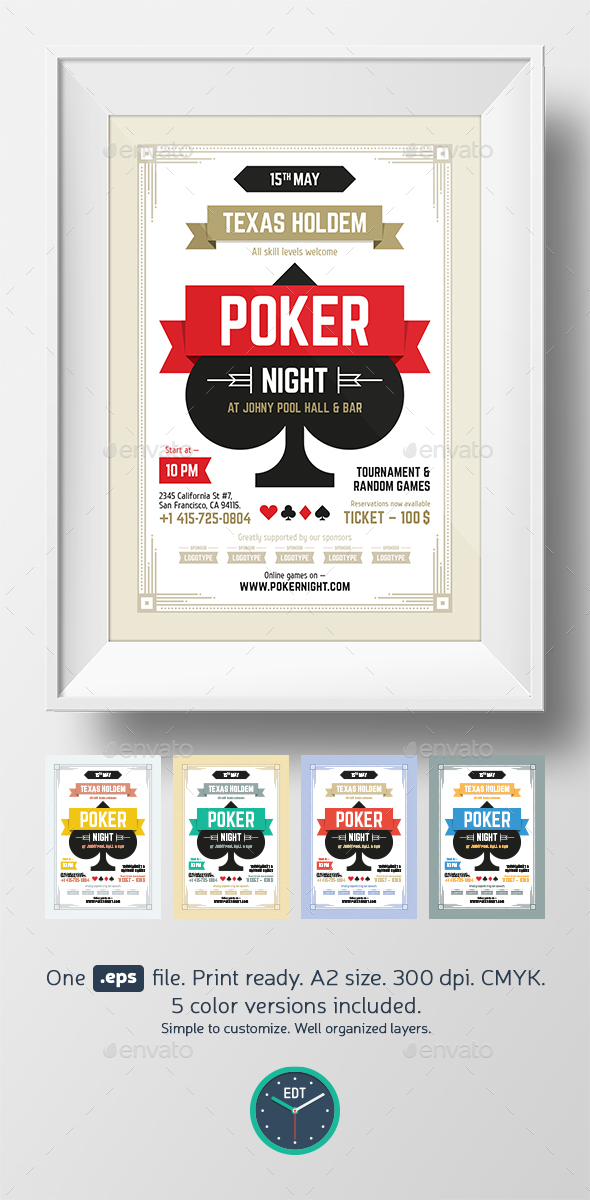 Poker night poster template - Clubs & Parties Events