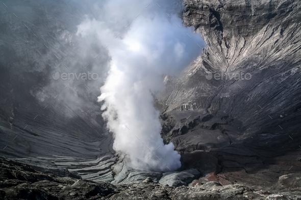 Smoking Bromo crater - Stock Photo - Images