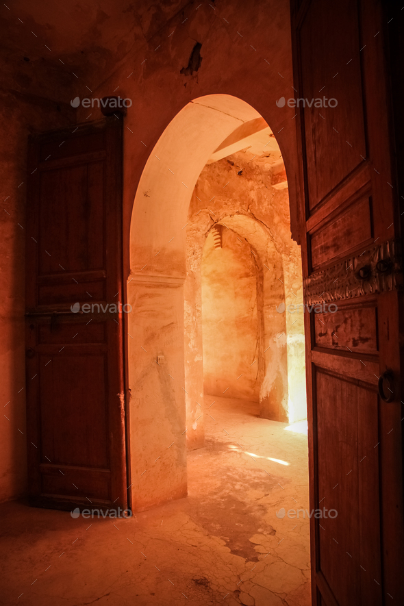 Entrance to the old Telouet kasbah - Stock Photo - Images