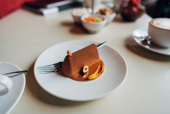 Chocolate cake on a plate - Stock Photo - Images