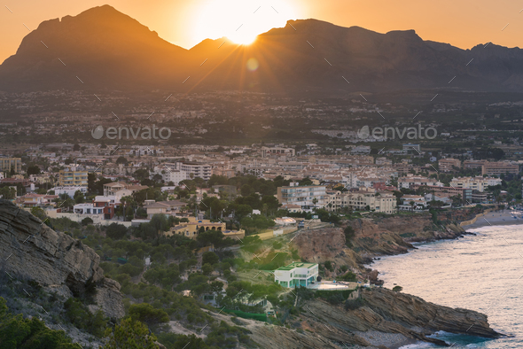 Sunset over Albir in Alicante,Spain - Stock Photo - Images