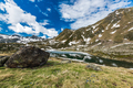 Alpine lake in Pyrenees mountains in Andorra