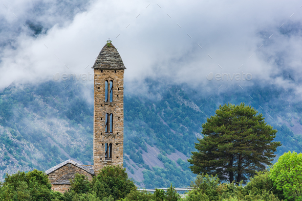 Clouds over Sant Miquel Engolasters church,Andorra - Stock Photo - Images