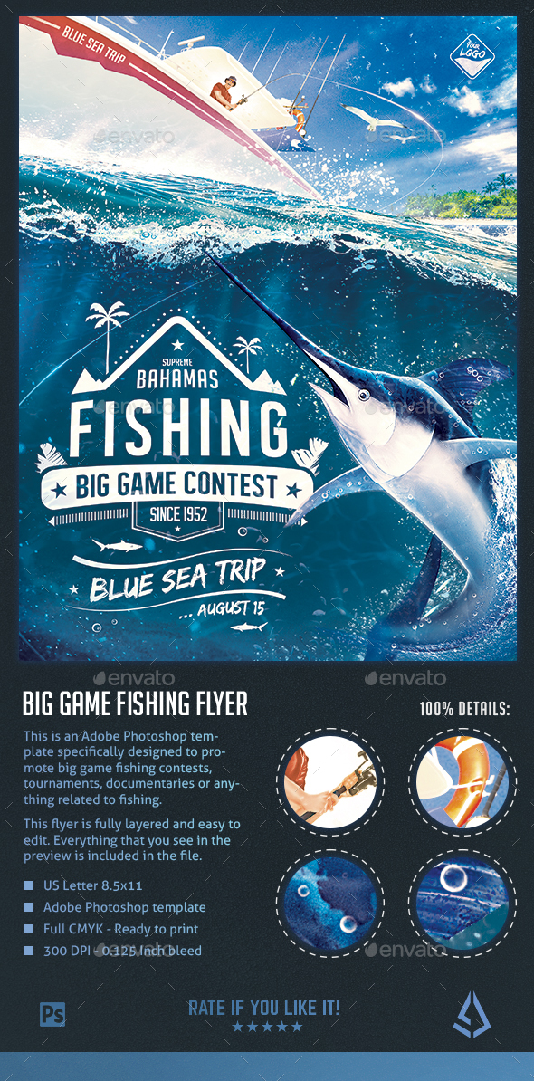 Big Game Fishing Flyer - Blue-Water Fishing Poster Template - Sports Events