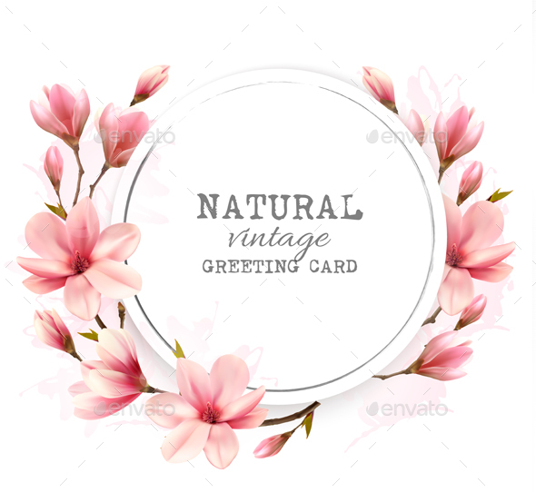 Natural Vintage Greeting Card With Pink Magnolia - Flowers & Plants Nature