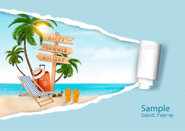 Summer Vacation Background. Vector. - Travel Conceptual