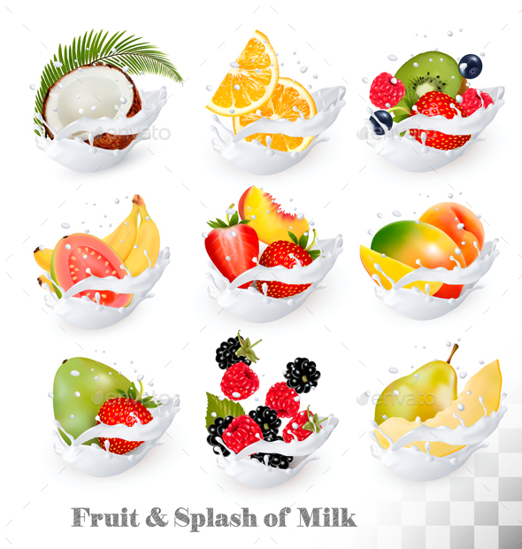 Big Collection Icons Of Fruit In A Milk Splash - Food Objects