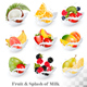 Big Collection Icons Of Fruit In A Milk Splash - GraphicRiver Item for Sale