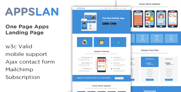 Appslan - One Page App Landing Page - Software Technology