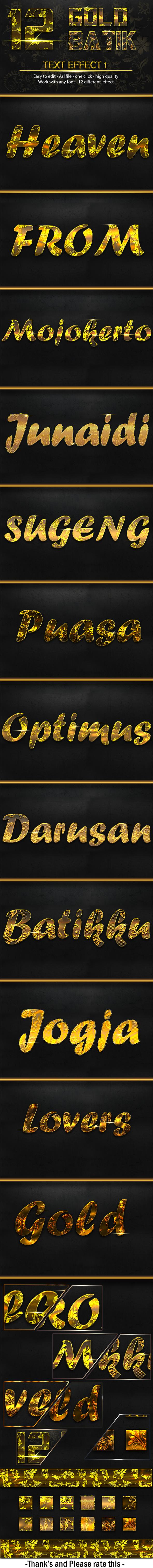 12 Gold Batik 1 - Text Effects Styles