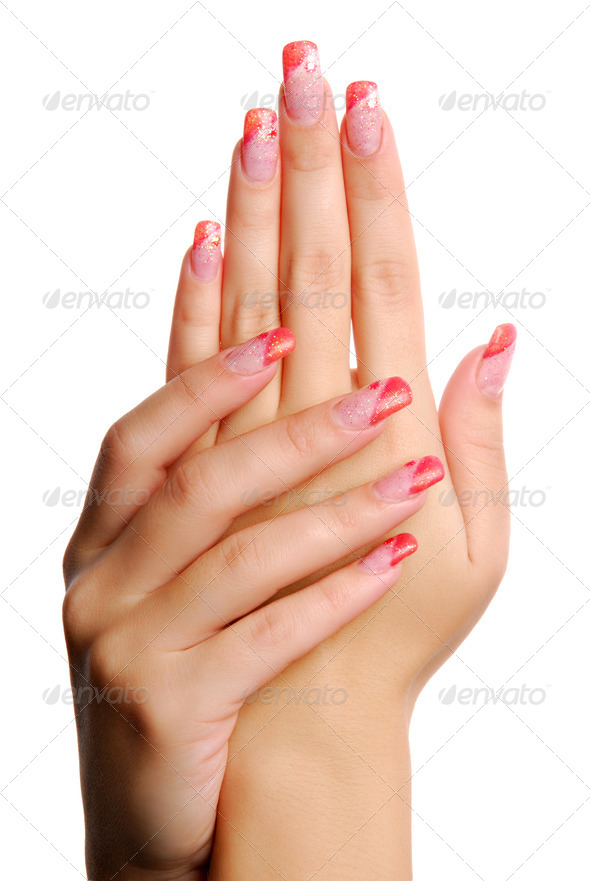 Elegant female hands with beautiful manicure - Stock Photo - Images