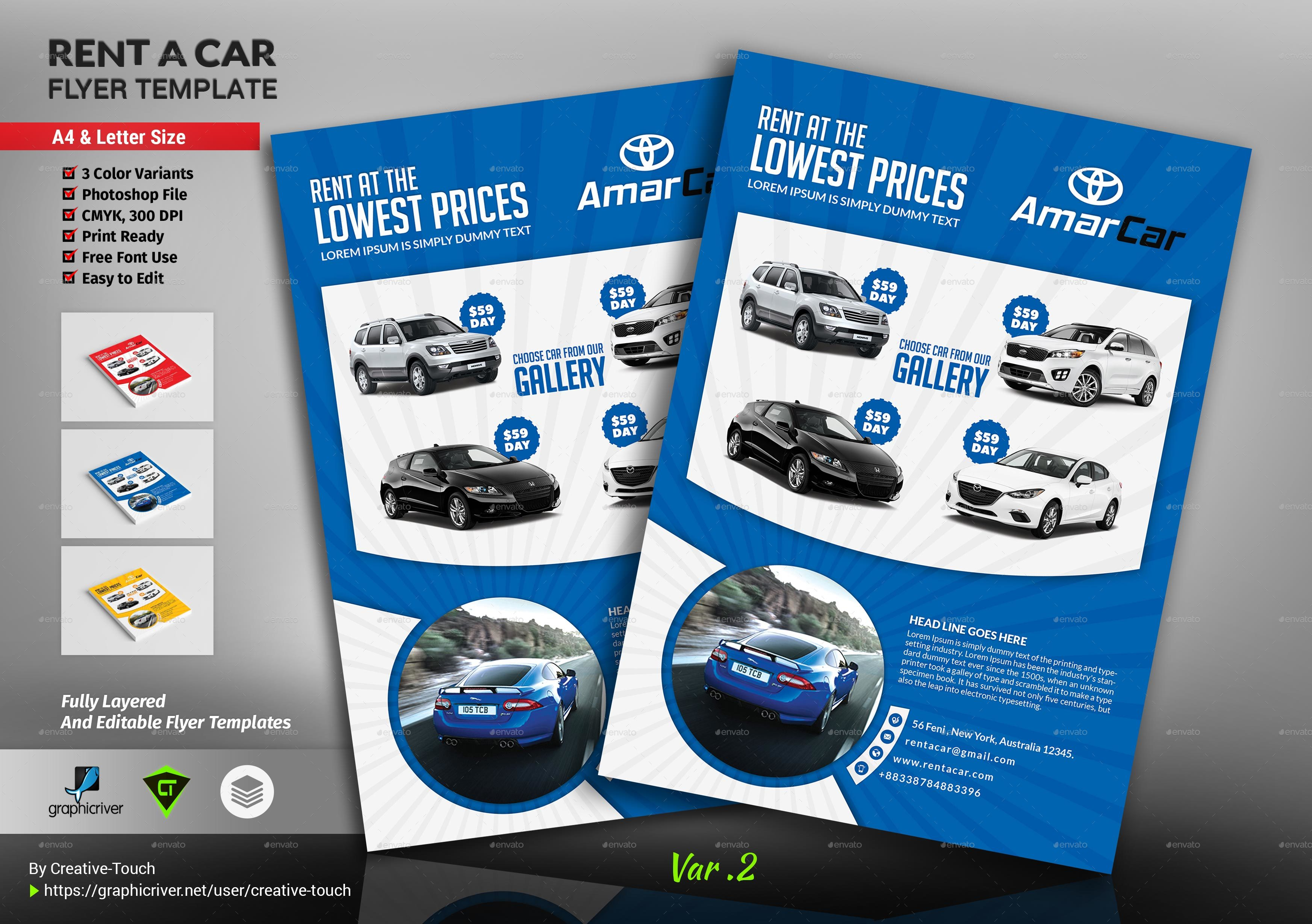 rent a car flyer template by creative touch graphicriver