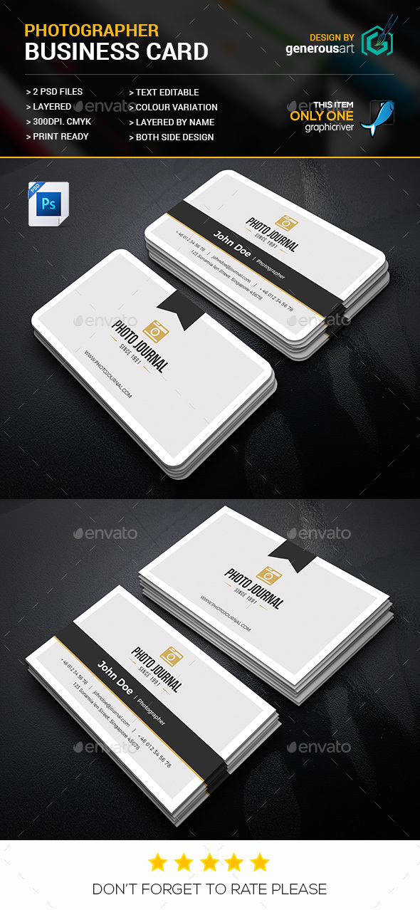 Photographer Business Card by generousart | GraphicRiver