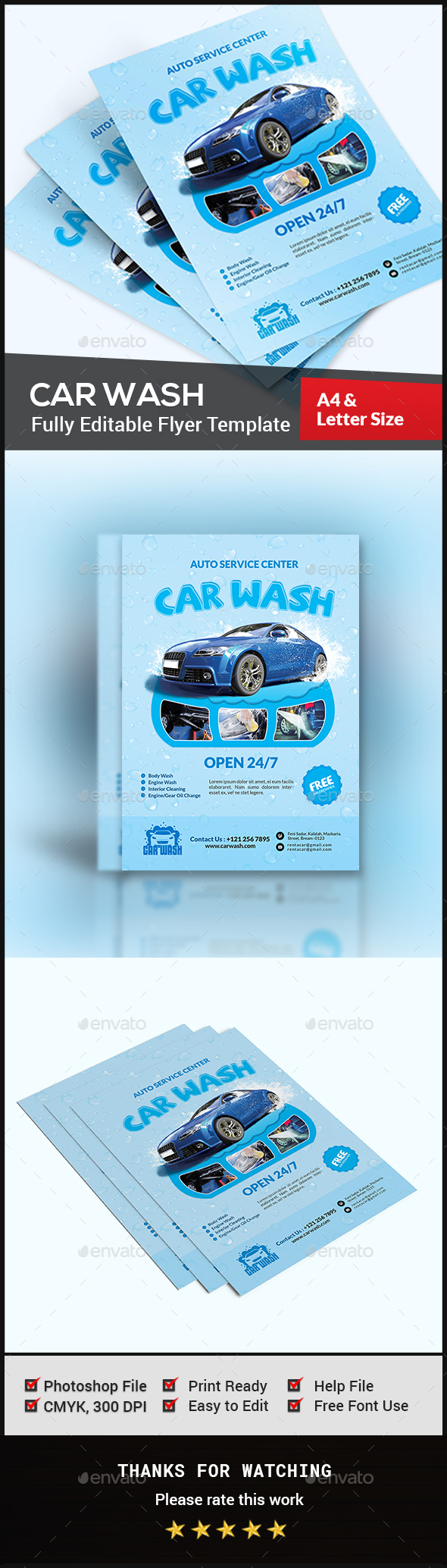 car wash flyer template by creative touch graphicriver. Black Bedroom Furniture Sets. Home Design Ideas