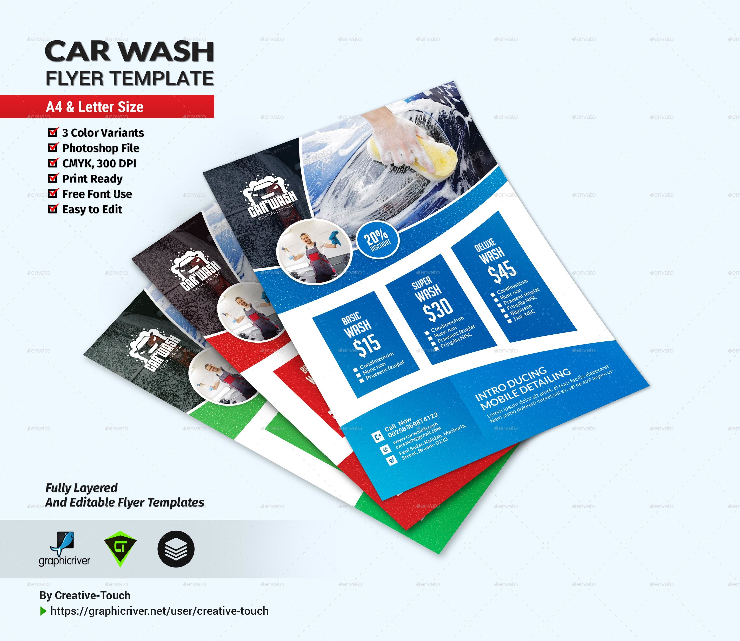 Car Wash Flyer Template By Creative Touch Graphicriver